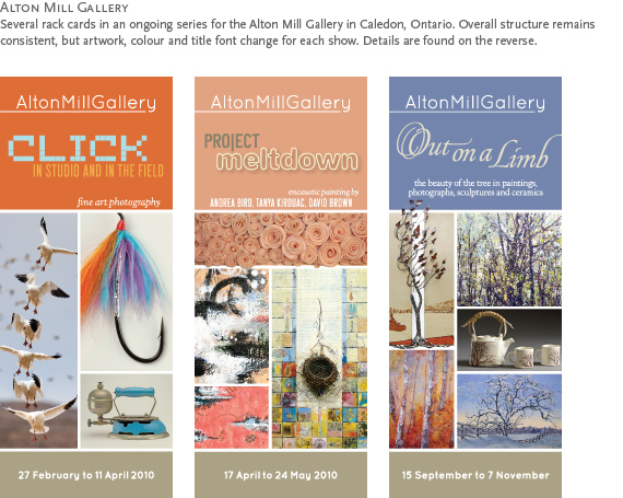 Alton Mill Gallery : Several rack cards in an ongoing series for the Alton Mill Gallery in Caledon, Ontario.