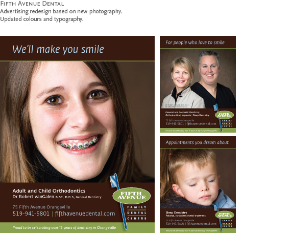 Fifth Avenue Dental : Advertising redesign based on new photography. Updated colours and typography.