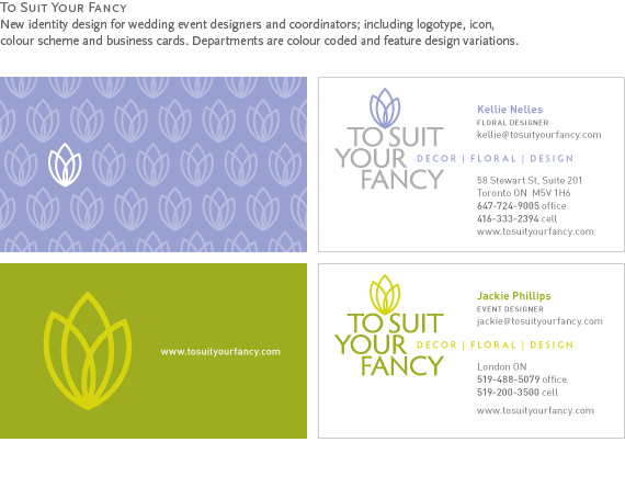 To Suit Your Fancy : New identity design for wedding event designers and coordinators; including logotype, icon, colour scheme and business cards. Departments are colour coded and feature design variations.