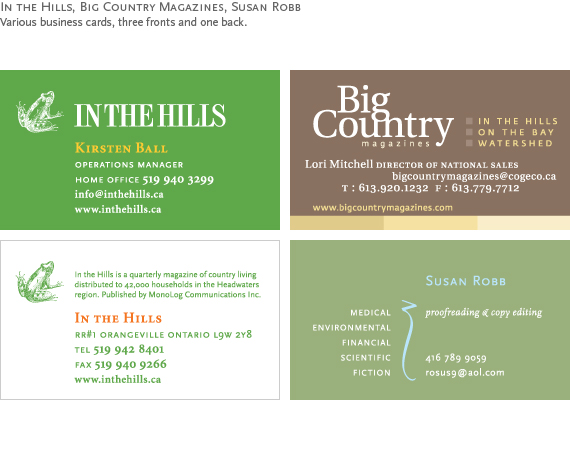 In the Hills, Big Country Magazines and Susan Robb : Various business cards.