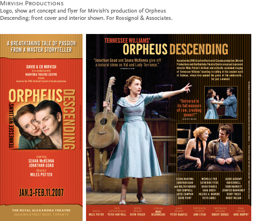 Mirvish Productions : Logo, show art and flyer for Mirvish's production of Orpheus Descending starring Seana McKenna; front cover and interior of brochure. For Rossignol & Associates.